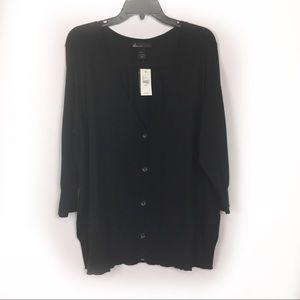 Lane Bryant black button cardigan sweater NWT